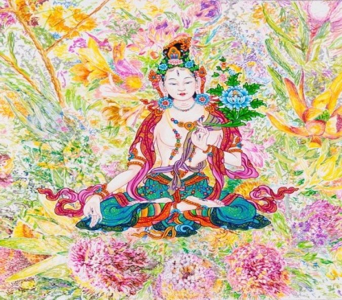 Thangka is strictly iconographic, explicitly religious, overflowing with symbolism and allegory. Nothing is arbitrary, each image and every color in every composition is chosen carefully by the artist - Dharma Studio